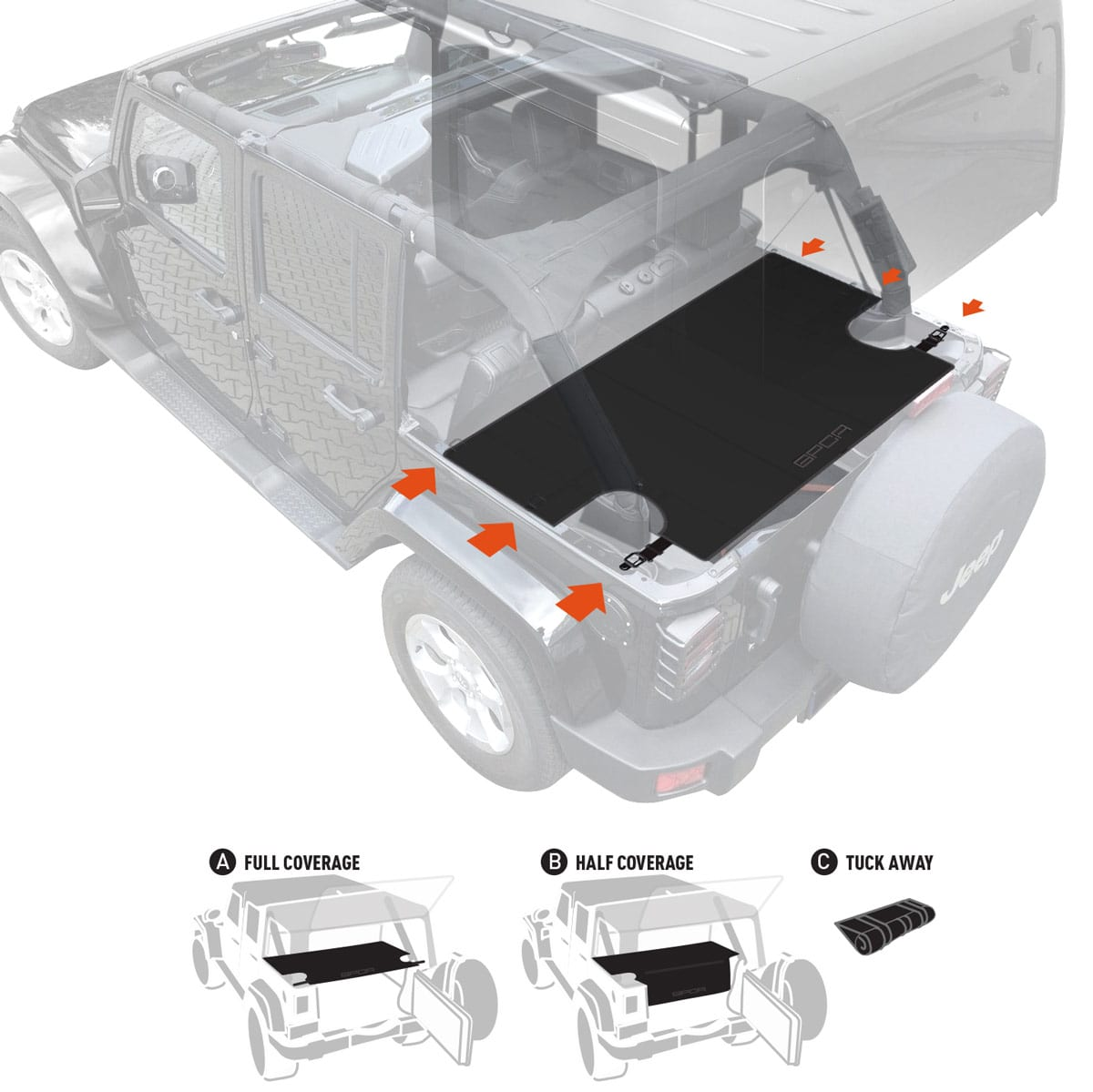 gpca jeep wrangler cargo area freedom pack 4dr cargo cover with 3 configs. Black Bedroom Furniture Sets. Home Design Ideas