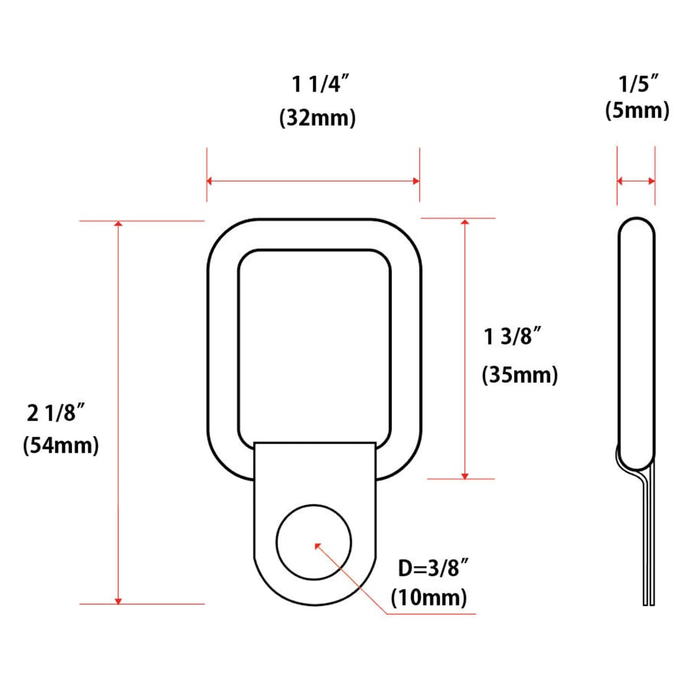 Jeep Wrangler trunk tie-down D-ring dimensions