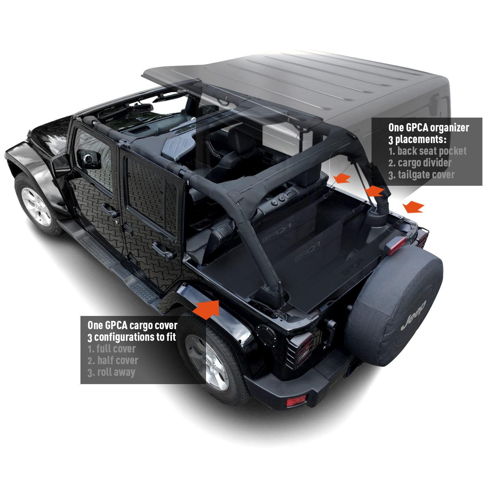 Jeep Wrangler Soft Top Cover >> GPCA Jeep Wrangler Cargo Area Freedom Pack -4DR Cargo Cover with 3 configs